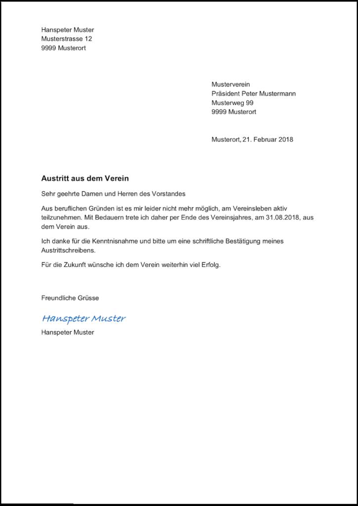 Sportverein vorlage pdf kostenlos kündigung Job kündigen: