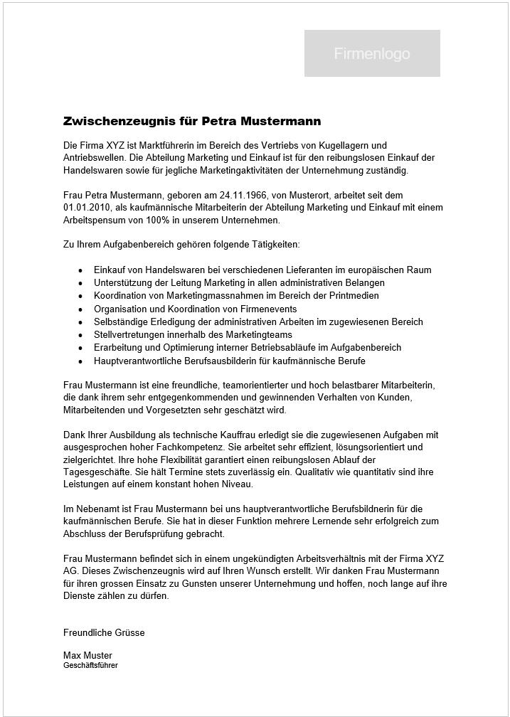 zwischenzeugnis schweiz muster - Ubergabeprotokoll Muster Word