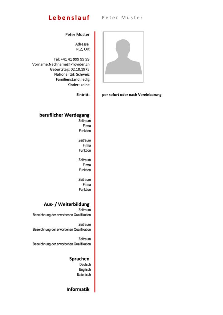 Lebenslauf Vorlagen Muster Schweiz Kostenlose Word Vorlage