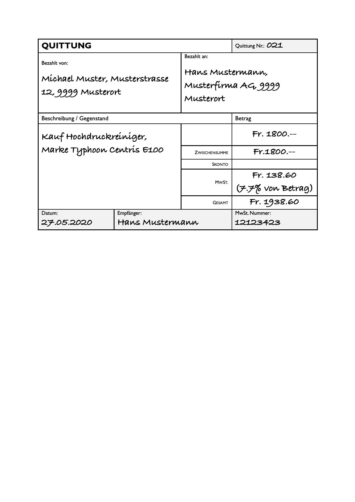 Quittungsvorlage Kostenlos Herunterladen Vorlage Quittung 1
