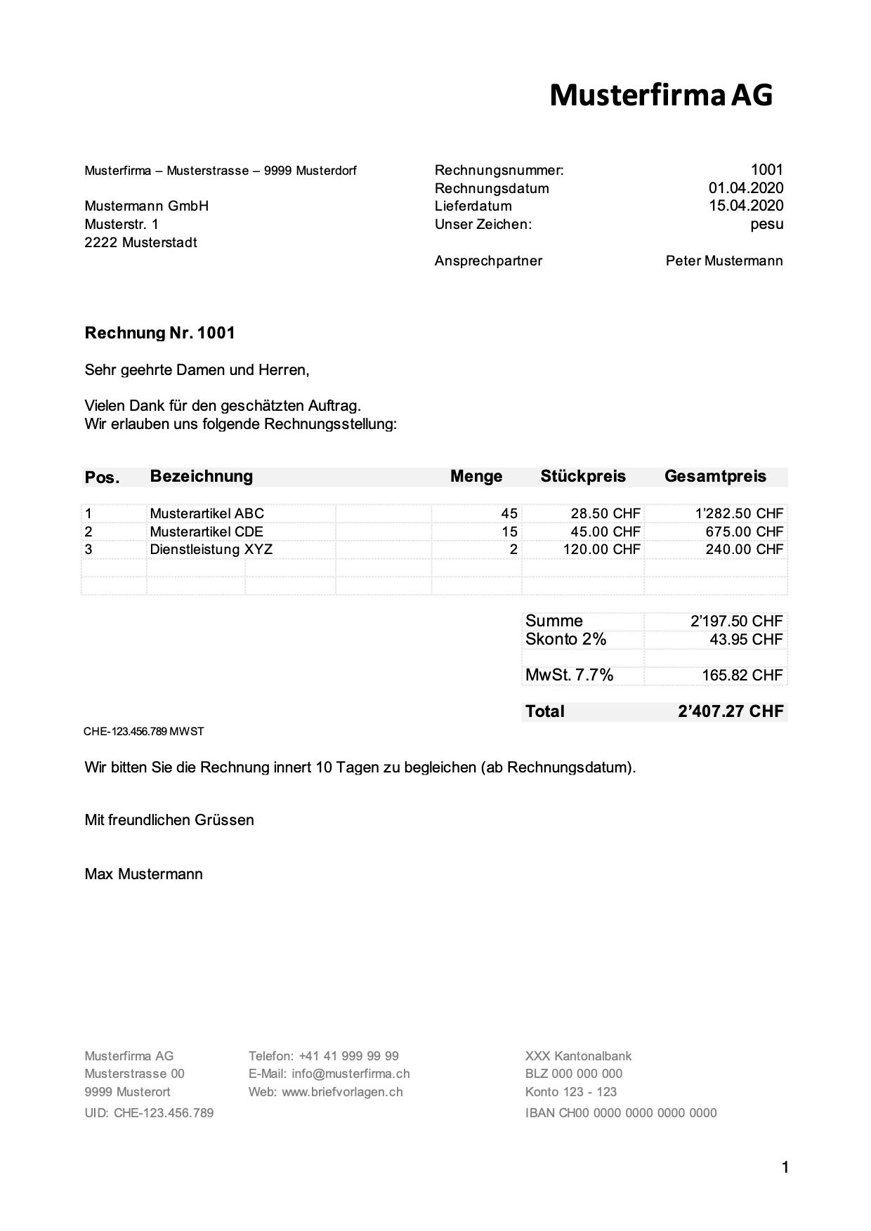 Rechnungsvorlage Schweiz Im Word Excel Format Kostenlos