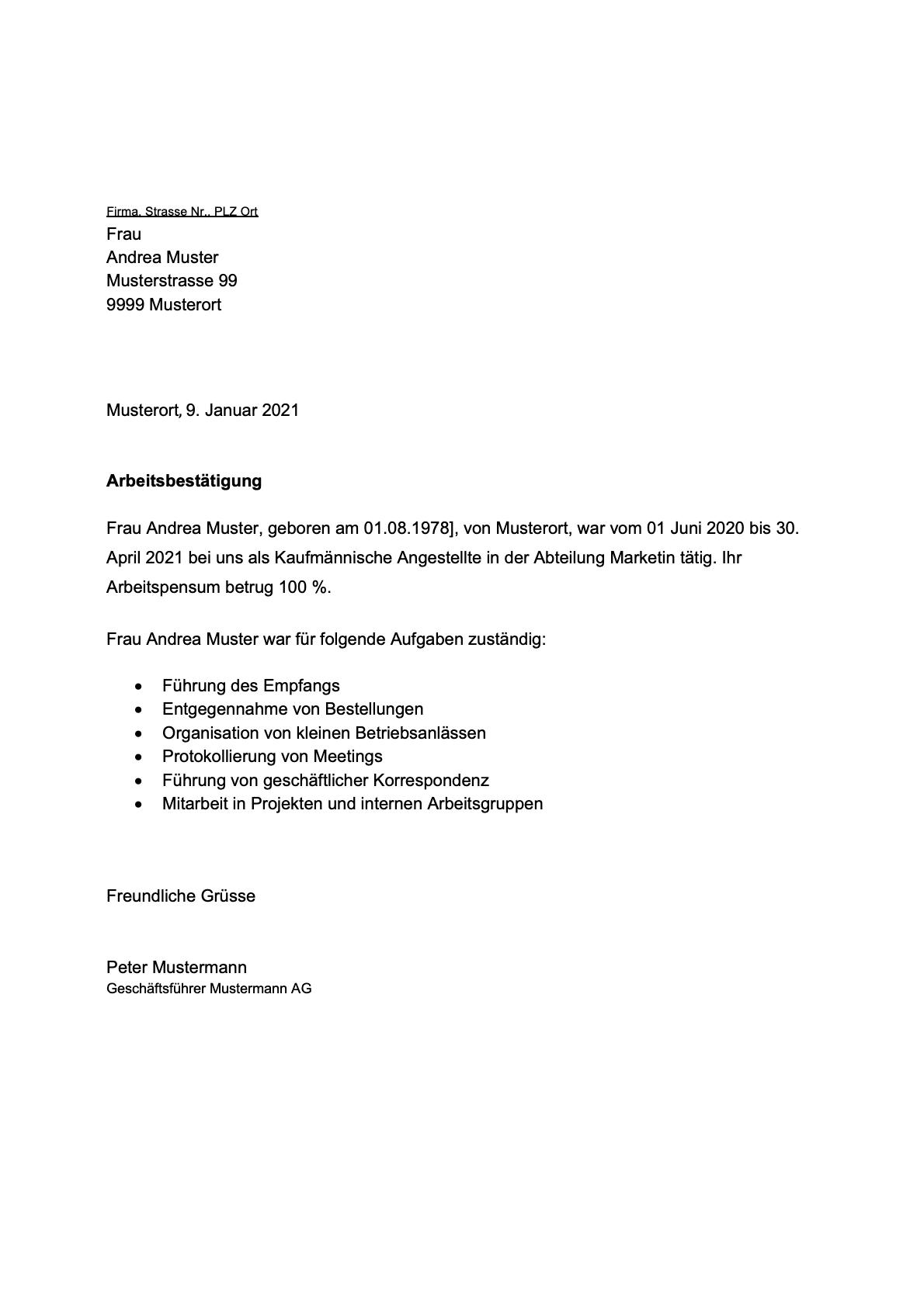 Arbeitsbescheinigung Fur Einen Arbeitnehmer 12